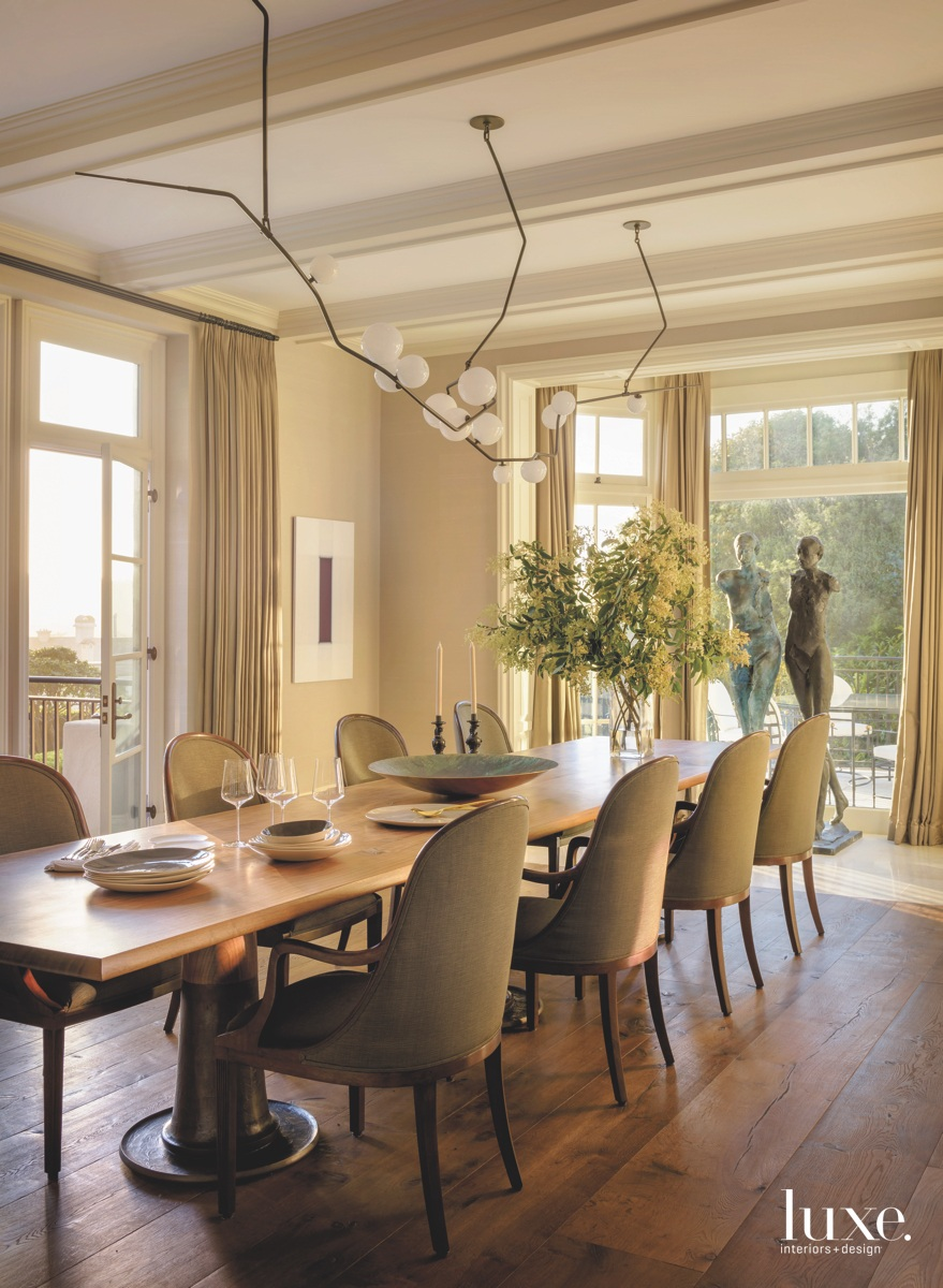 modern neutral dining room chandelier