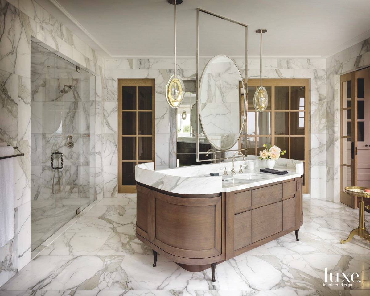 modern neutral bathroom double-sided walnut...