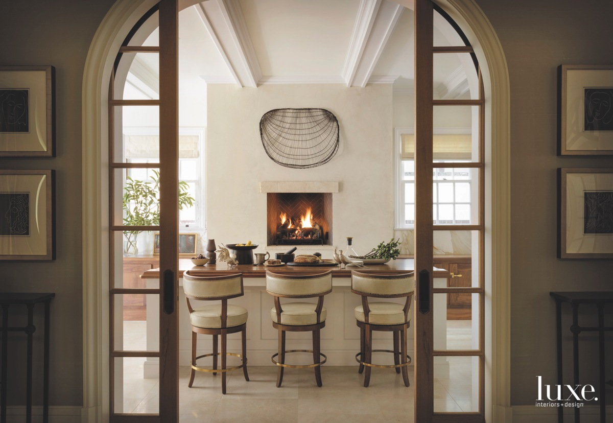 modern dining area island fireplace
