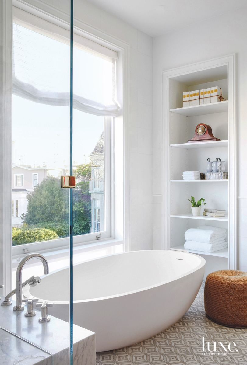modern bathroom white freestanding tub
