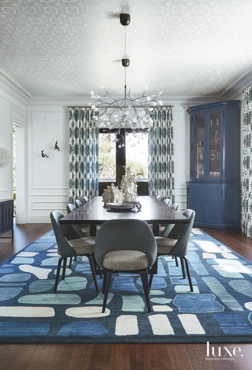 modern blue dining room