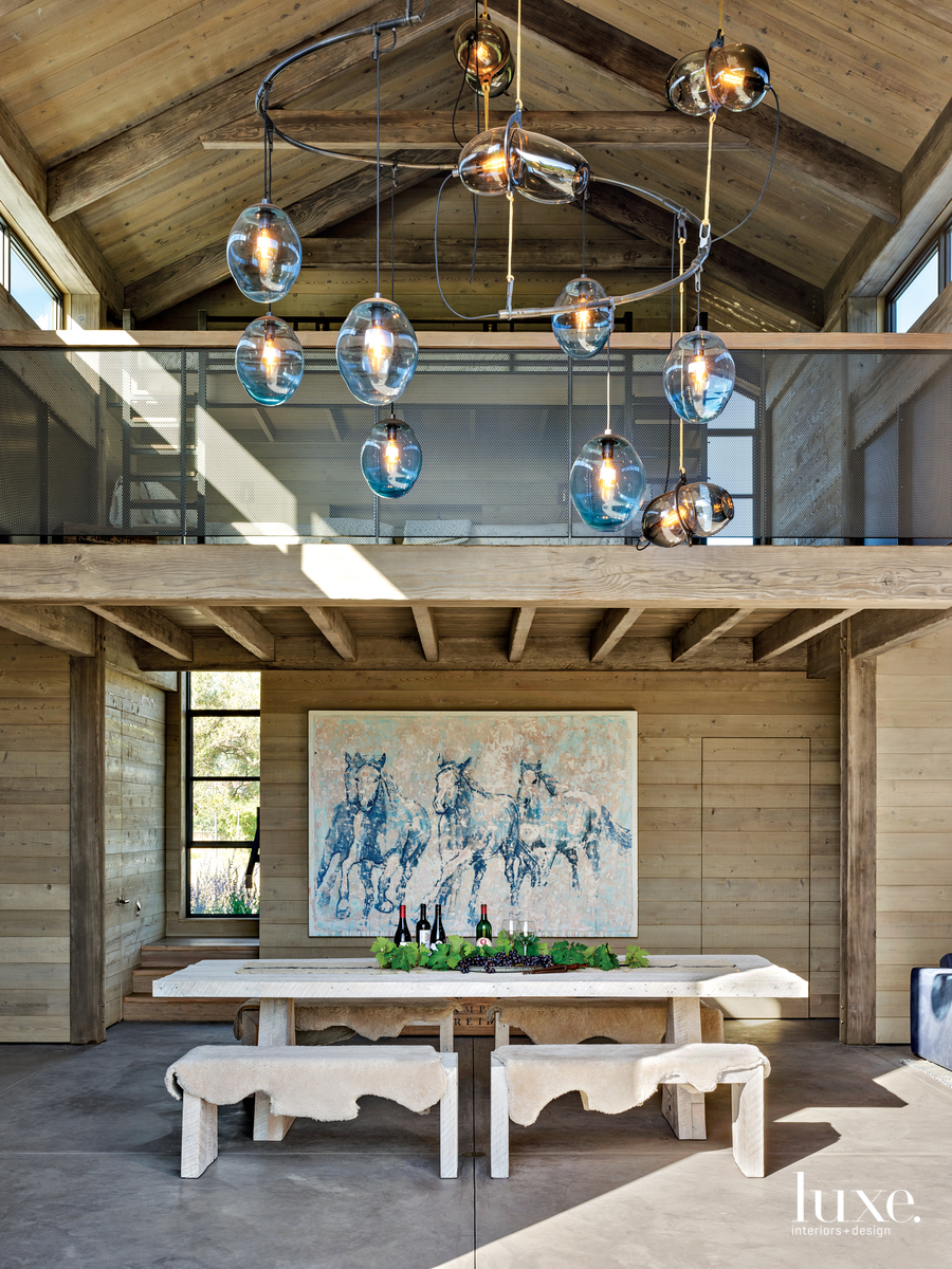 rustic covered outdoor dining area