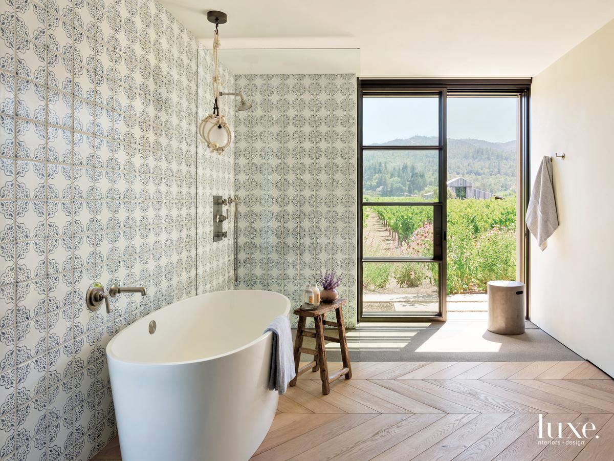 rustic bathroom white freestanding tub...