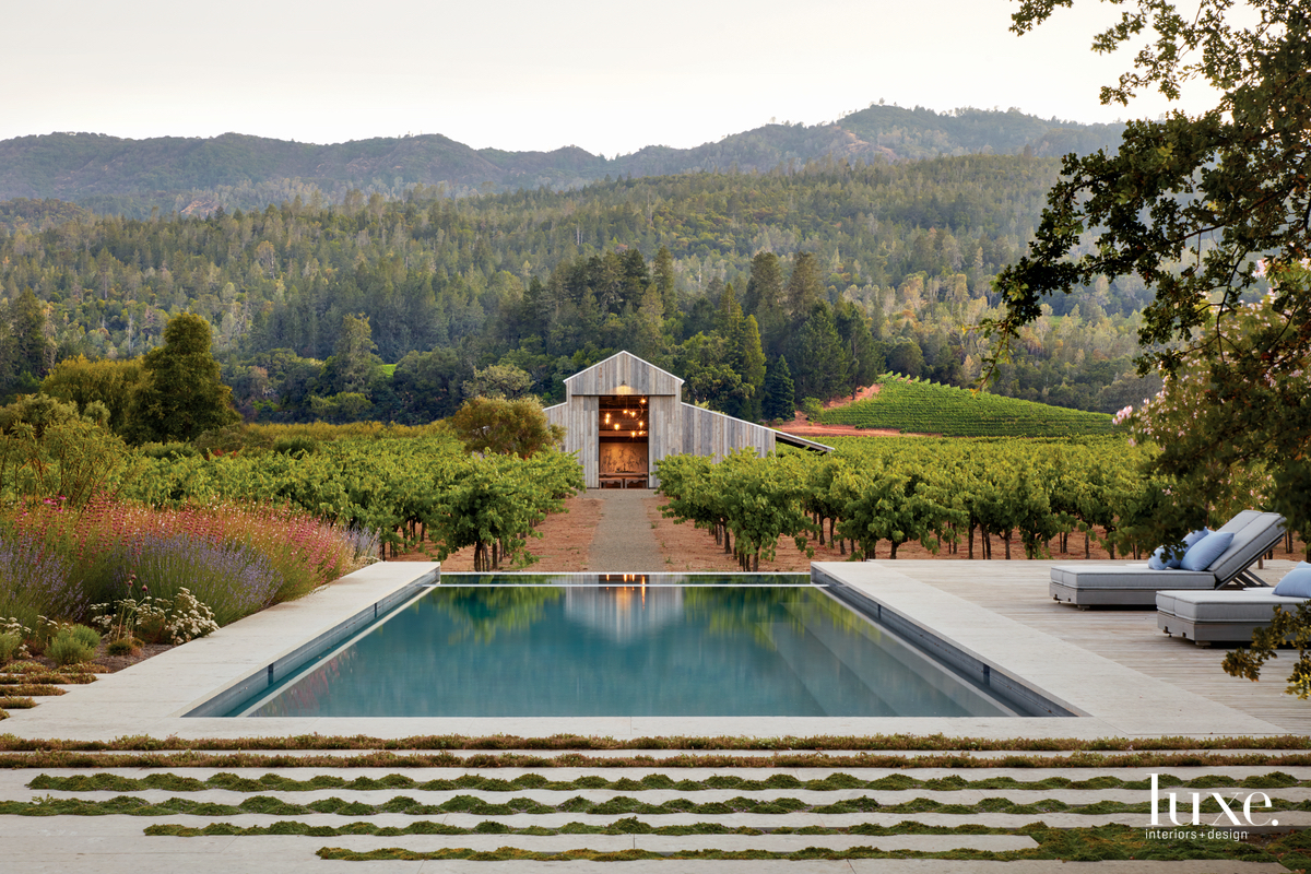exterior infinity pool vineyard landscape