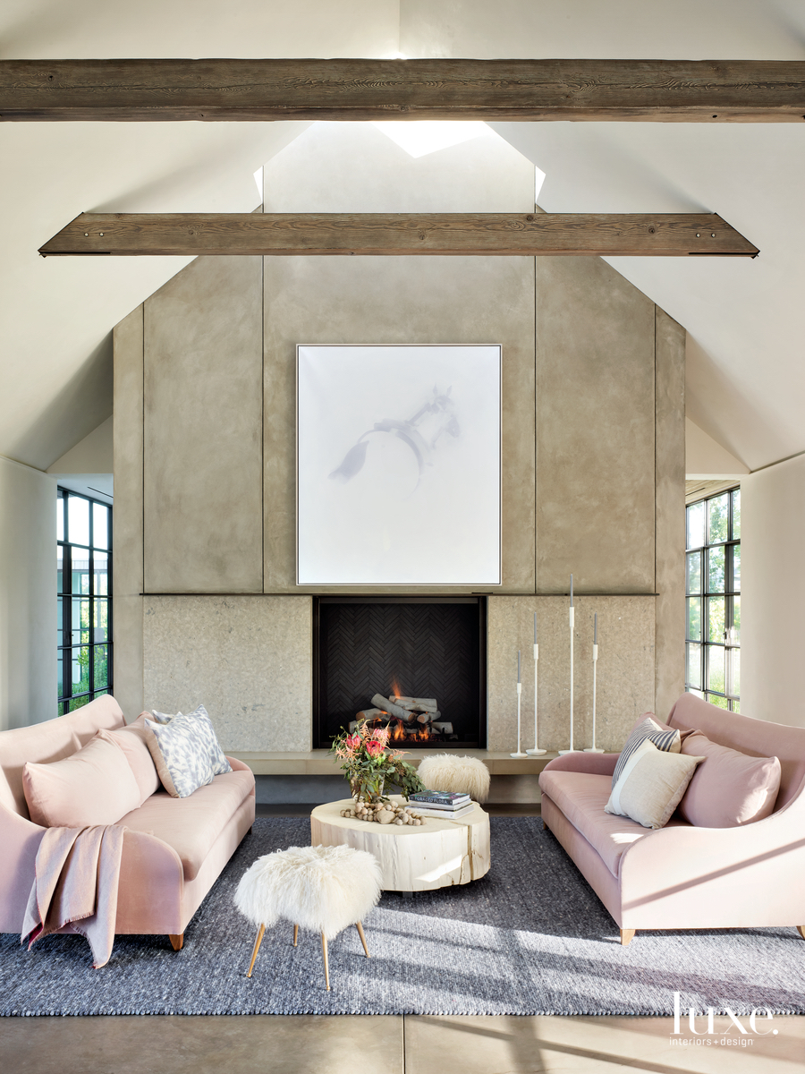 rustic living room pink sofas...