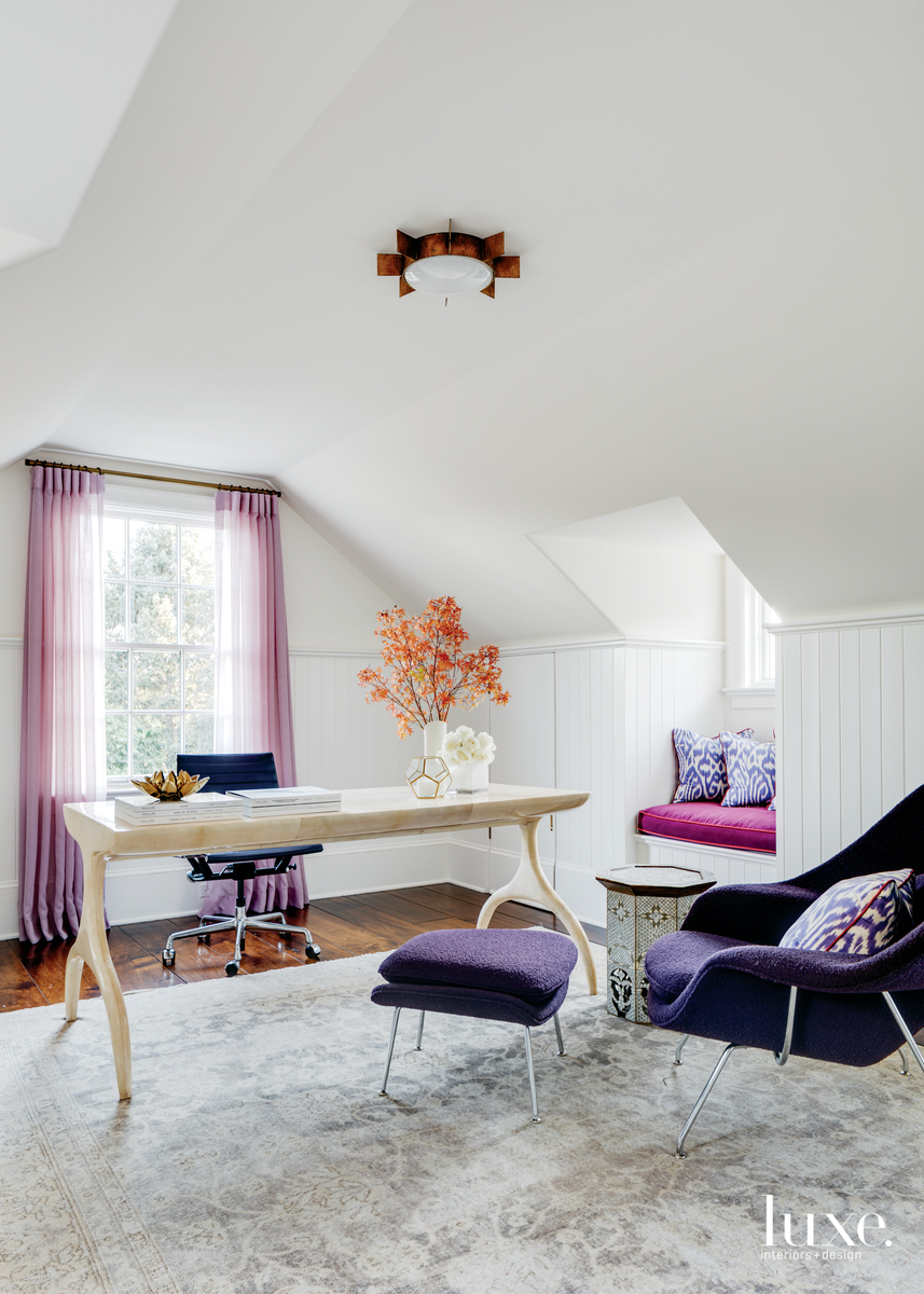 eclectic office pink and purple accents