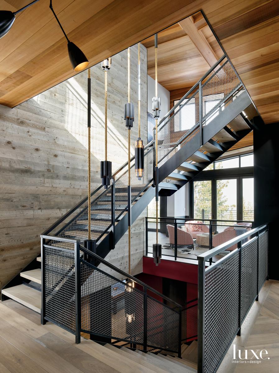 industrial metal mesh floating staircase