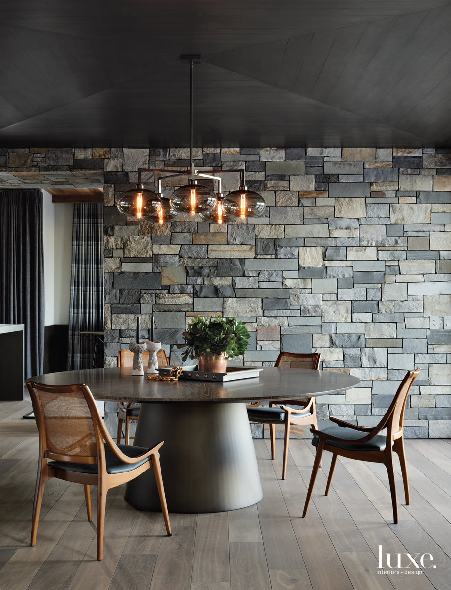 industrial dining room stone wall...