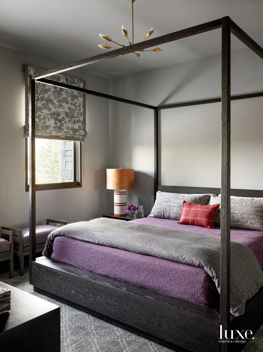 industrial bedroom purple bed gray...