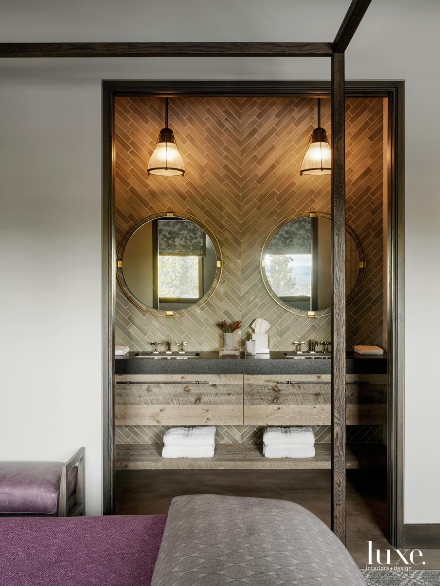 industrial bathroom vanity marble counters...