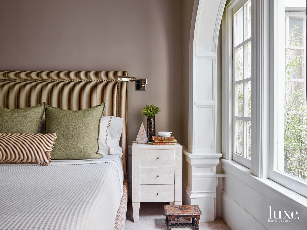 contemporary bedroom neutral palette brown-striped...