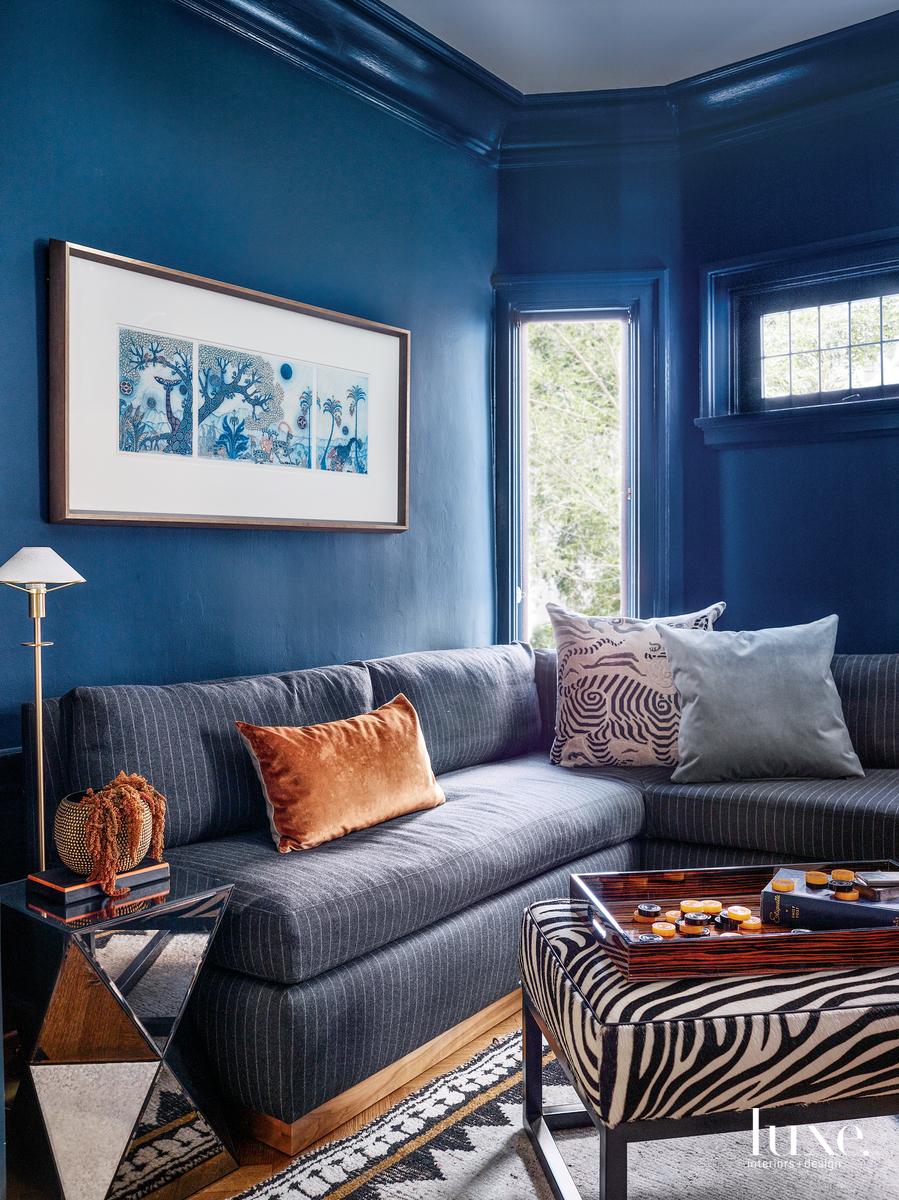 contemporary blue media room