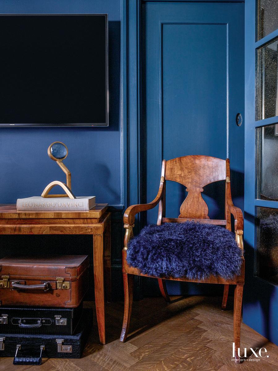 contemporary blue media room antique...
