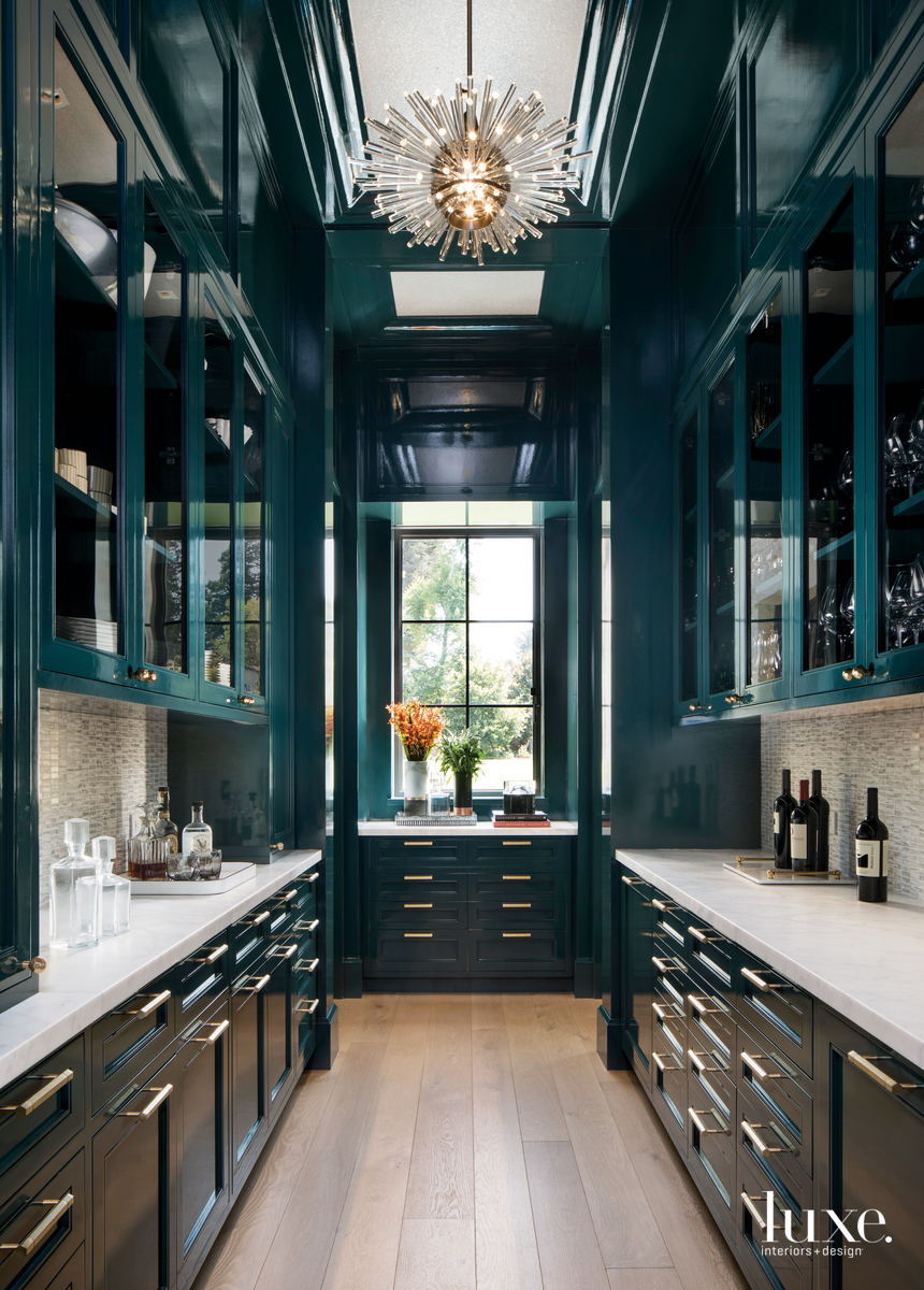 contemporary pantry teal walls and...
