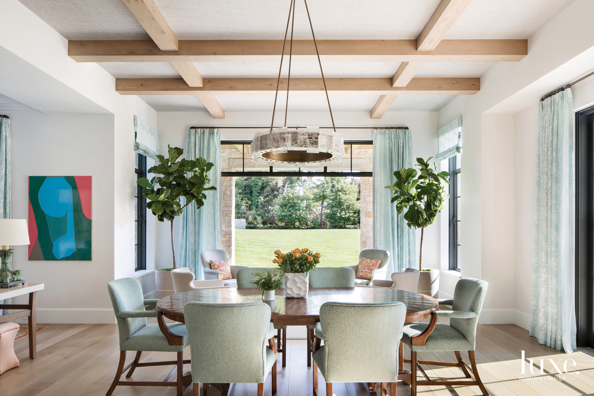contemporary dining room aqua accents