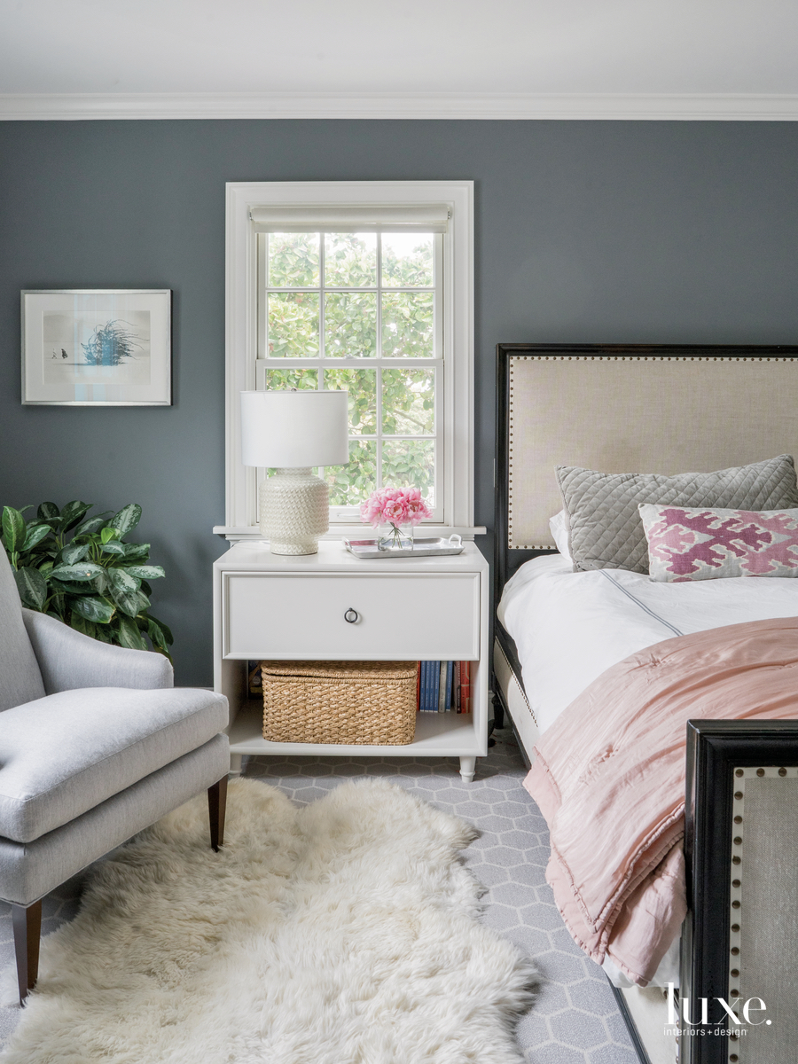 transitional gray bedroom pink accents