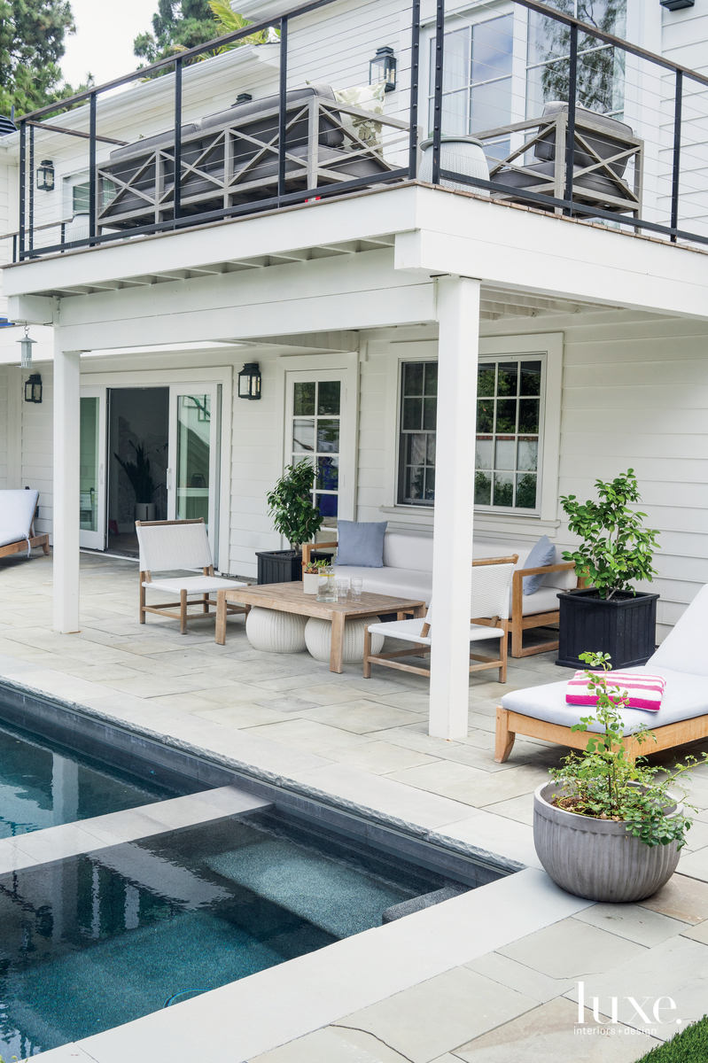 transitional white exterior and pool...