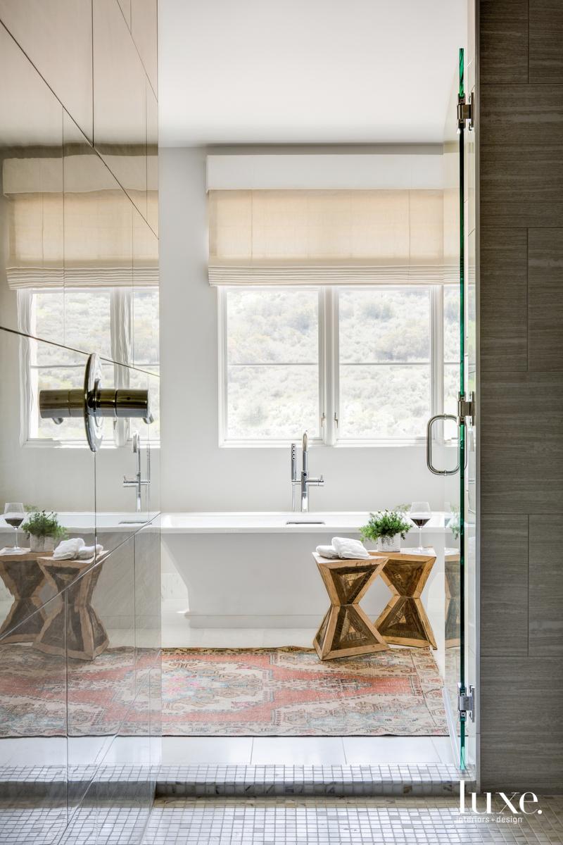 contemporary bathroom sculptural stools