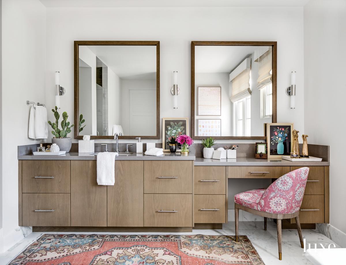 contemporary bathroom brown cabinetry
