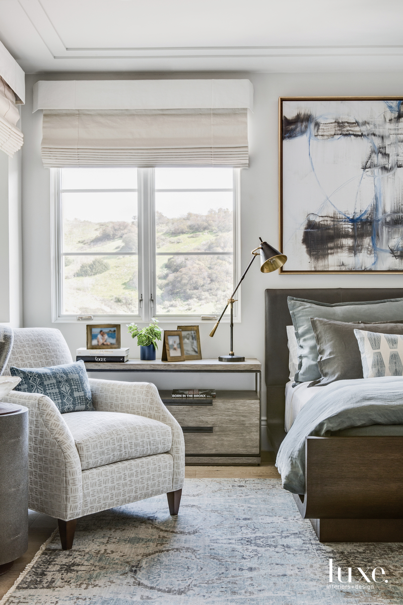 contemporary bedroom neutral palette blue...