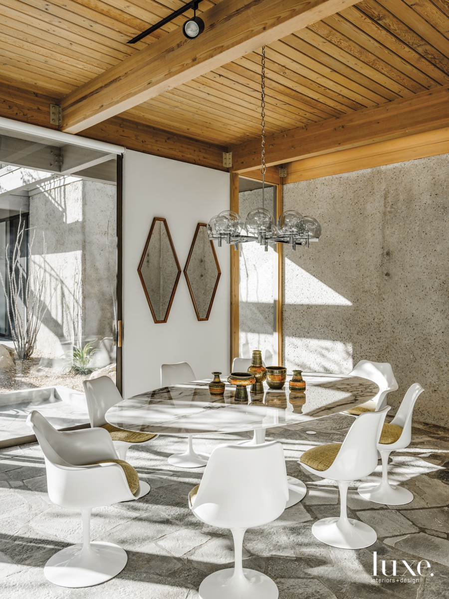 mid-century modern dining room white...