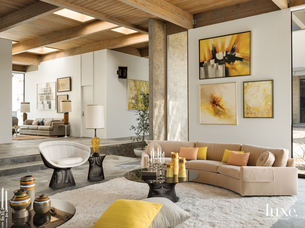 mid-century modern neutral living room...