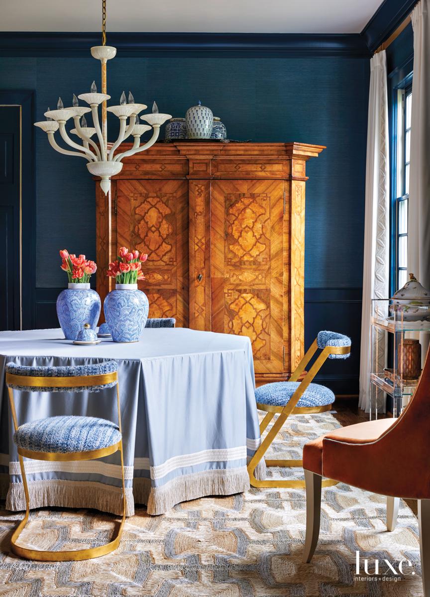 indigo and blue dining room