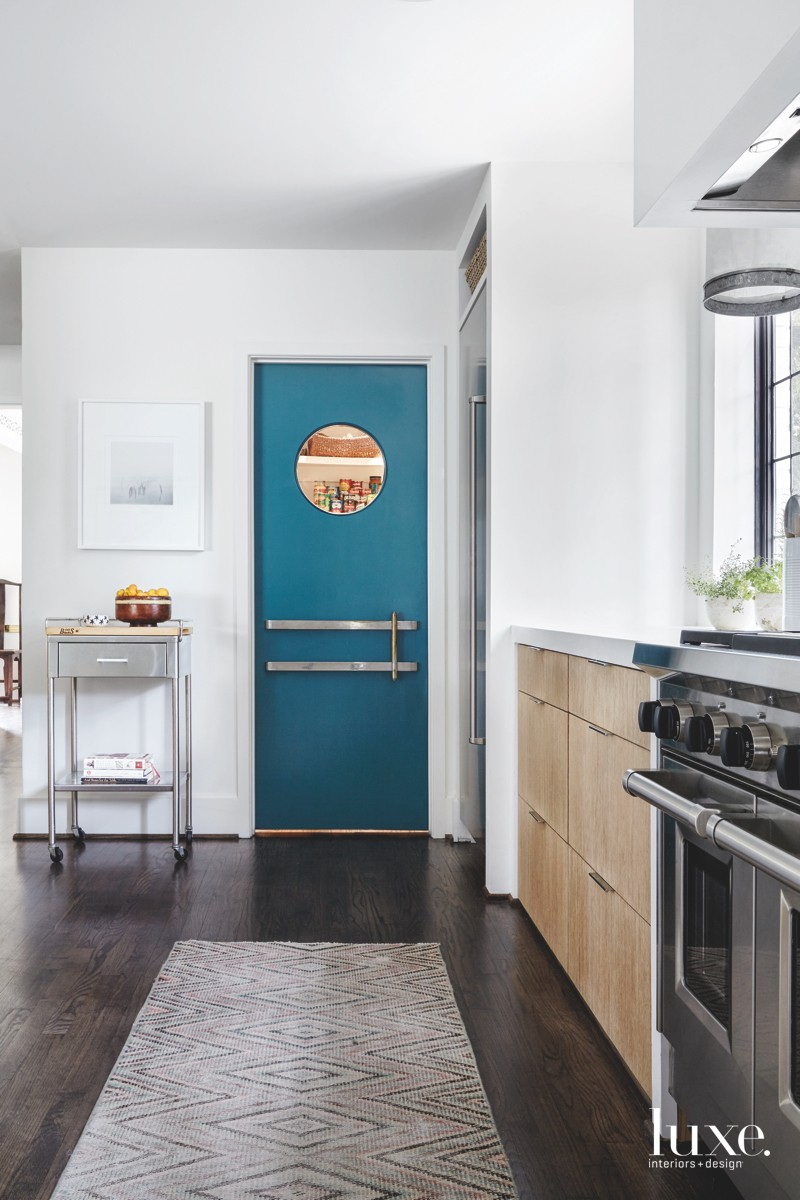 contemporary kitchen blue theater door...
