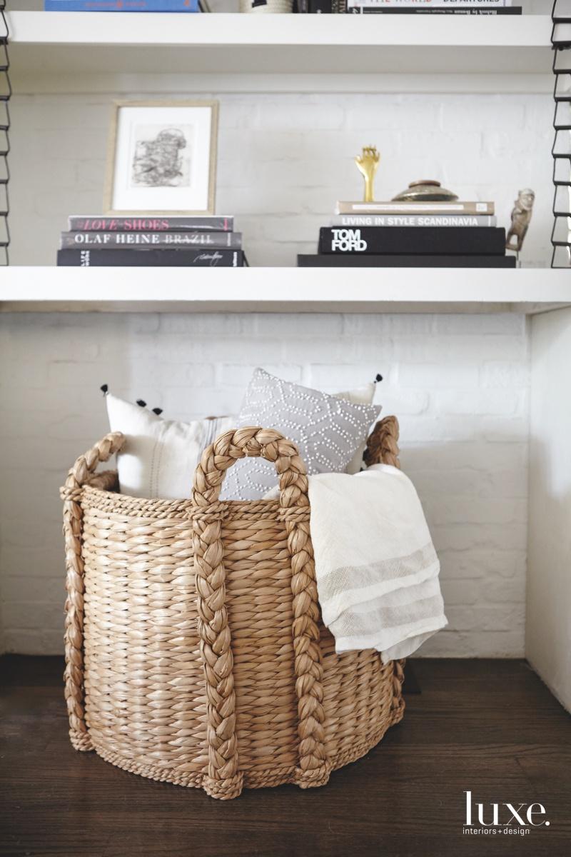 contemporary basket family room books