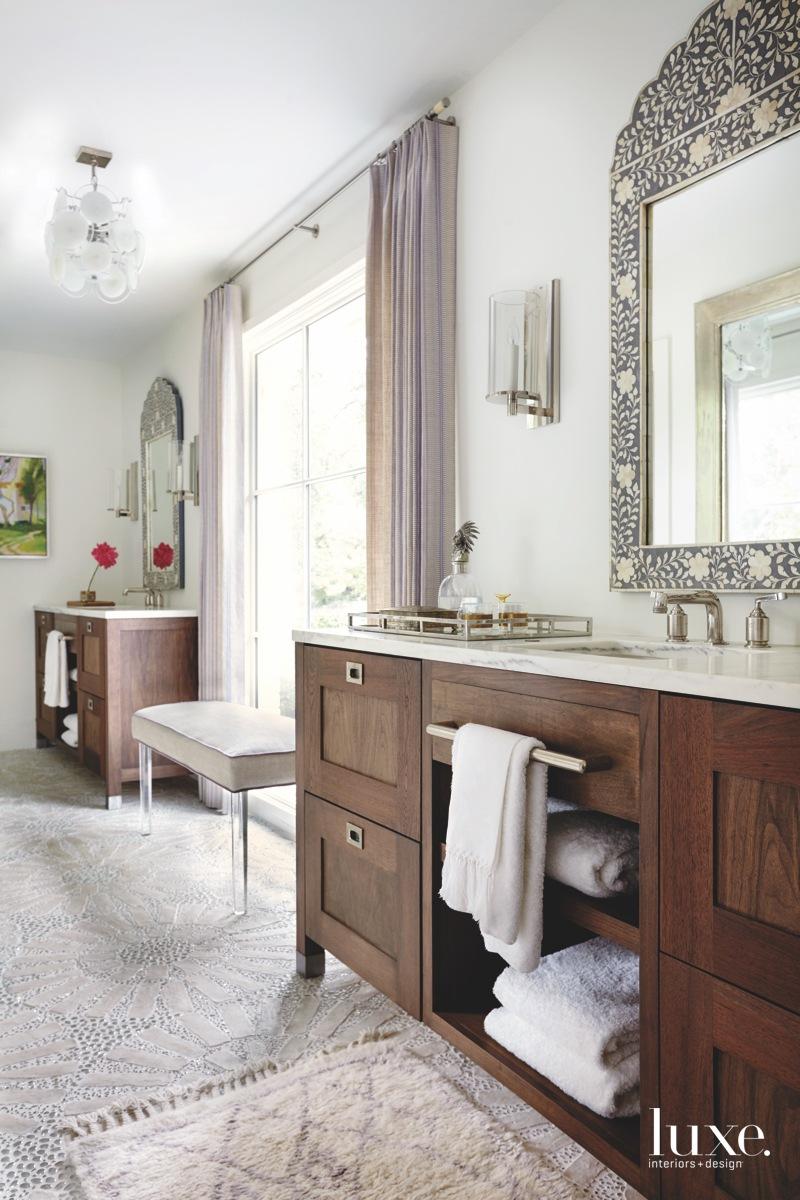 contemporary bathroom concrete flooring with...