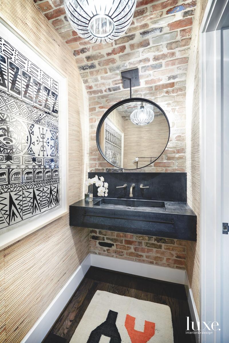 contemporary powder bathroom vaulted ceiling...