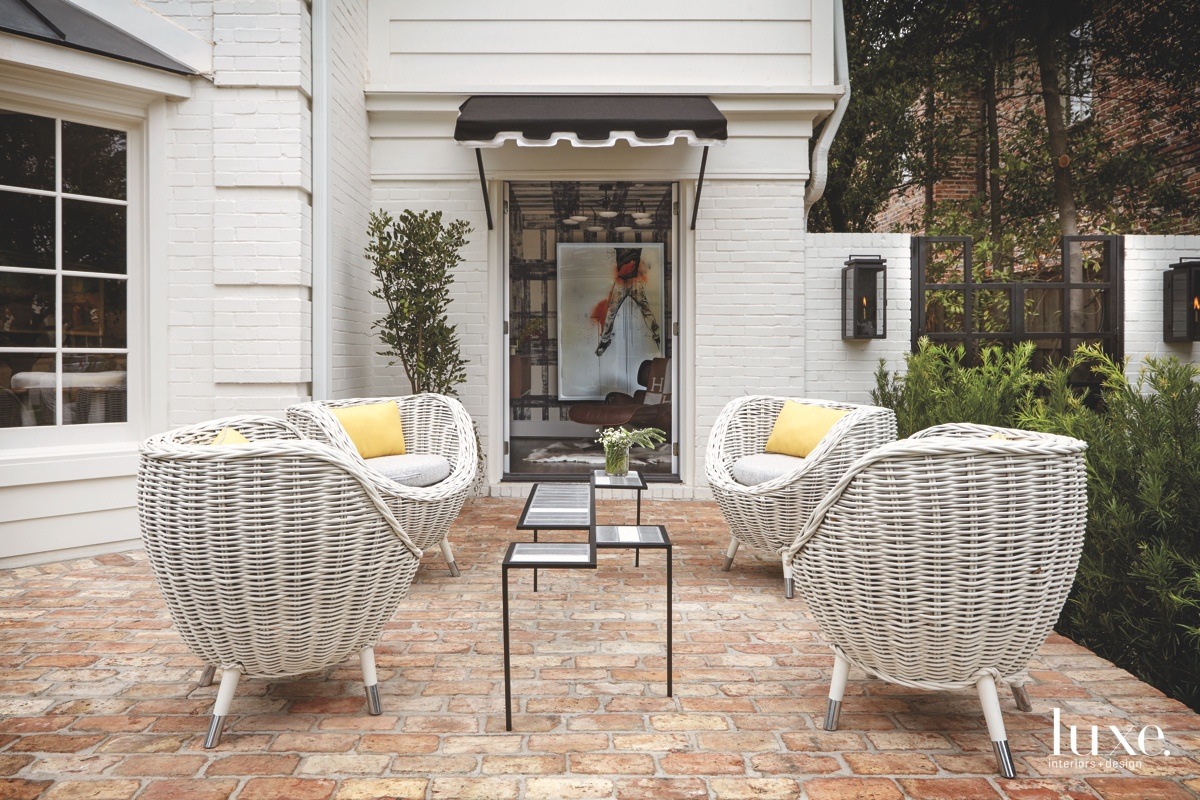 contemporary porch woven chairs chrome...