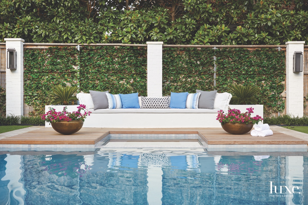 contemporary pool white sofa sitting...