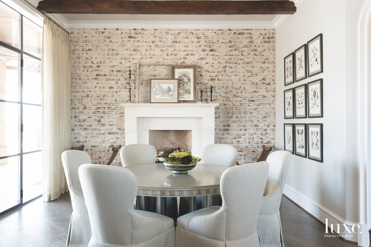 farmhouse dining room slurried brick...
