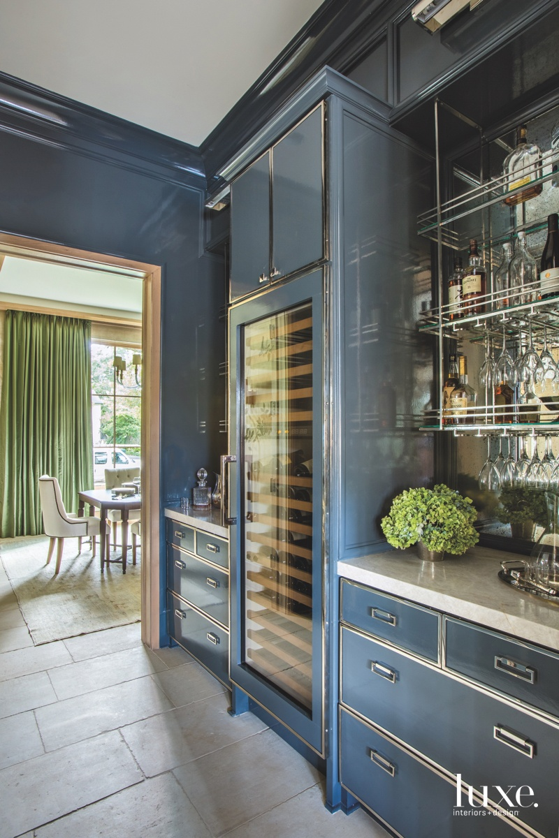 contemporary pantry blue cabinetry glass...