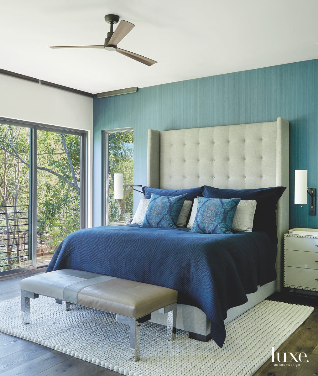 rustic blue bedroom