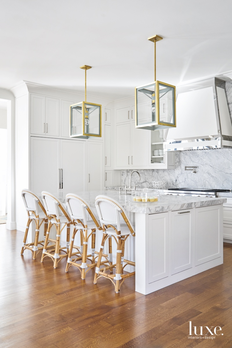 transitional white kitchen mixed-metal accents...
