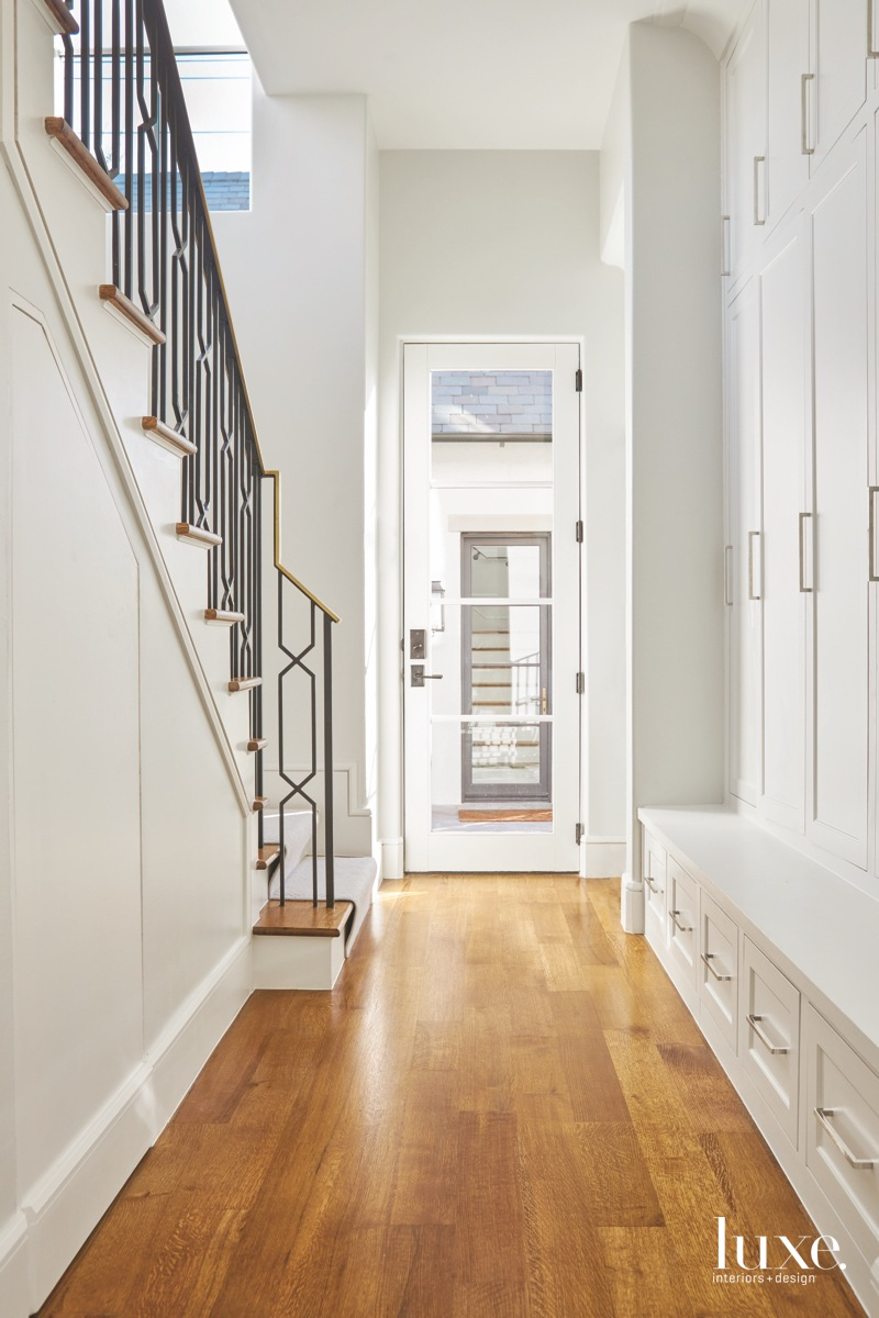 transitional entry hallway stairs wood...