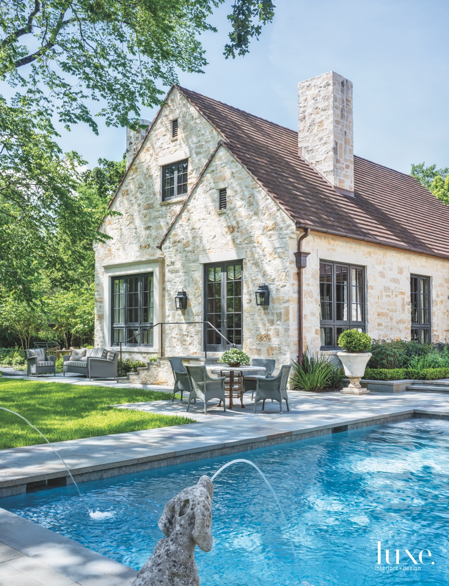traditional outdoor pool exterior sitting...