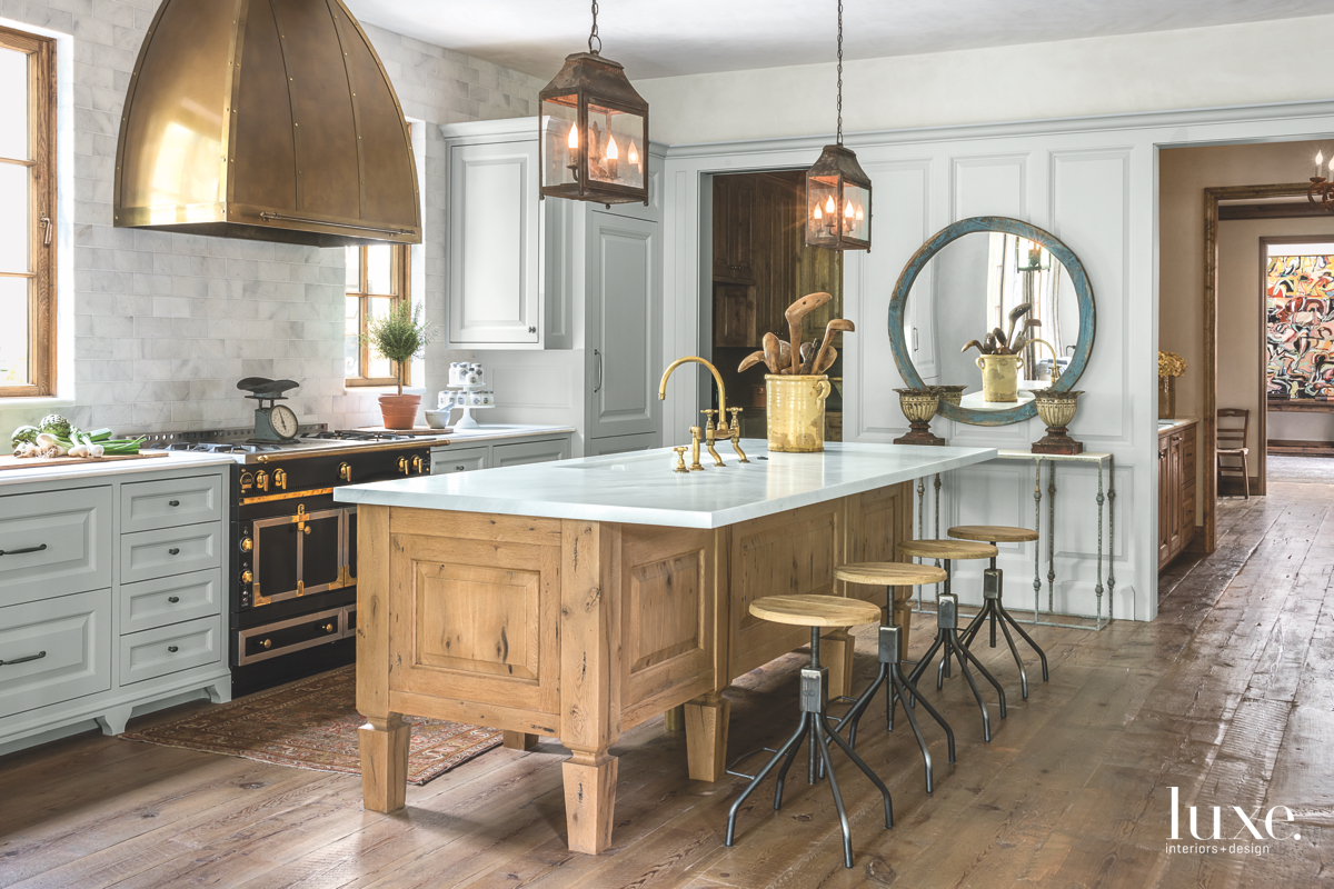 traditional neutral kitchen gold accents