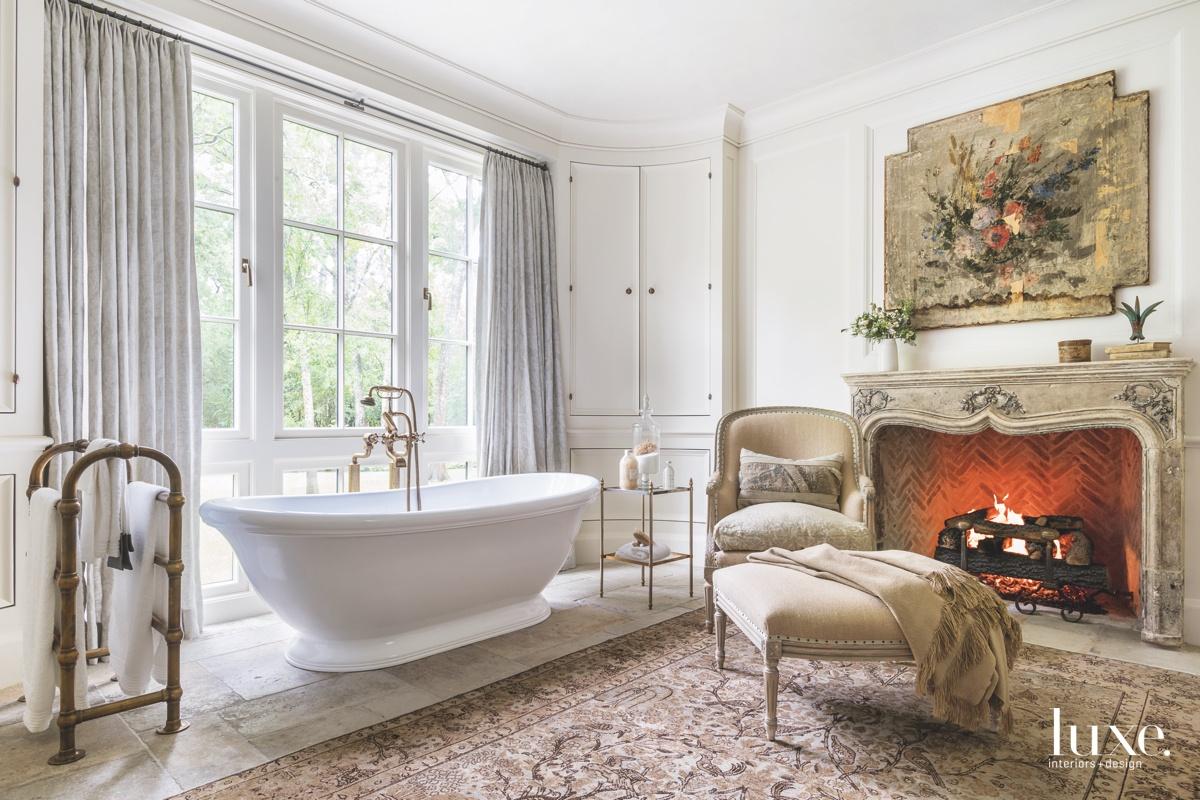 traditional bathroom white freestanding tub...
