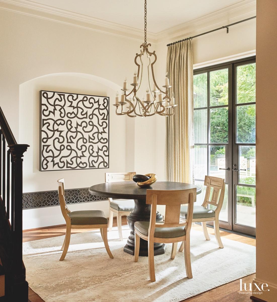 traditional breakfast room neutral artwork