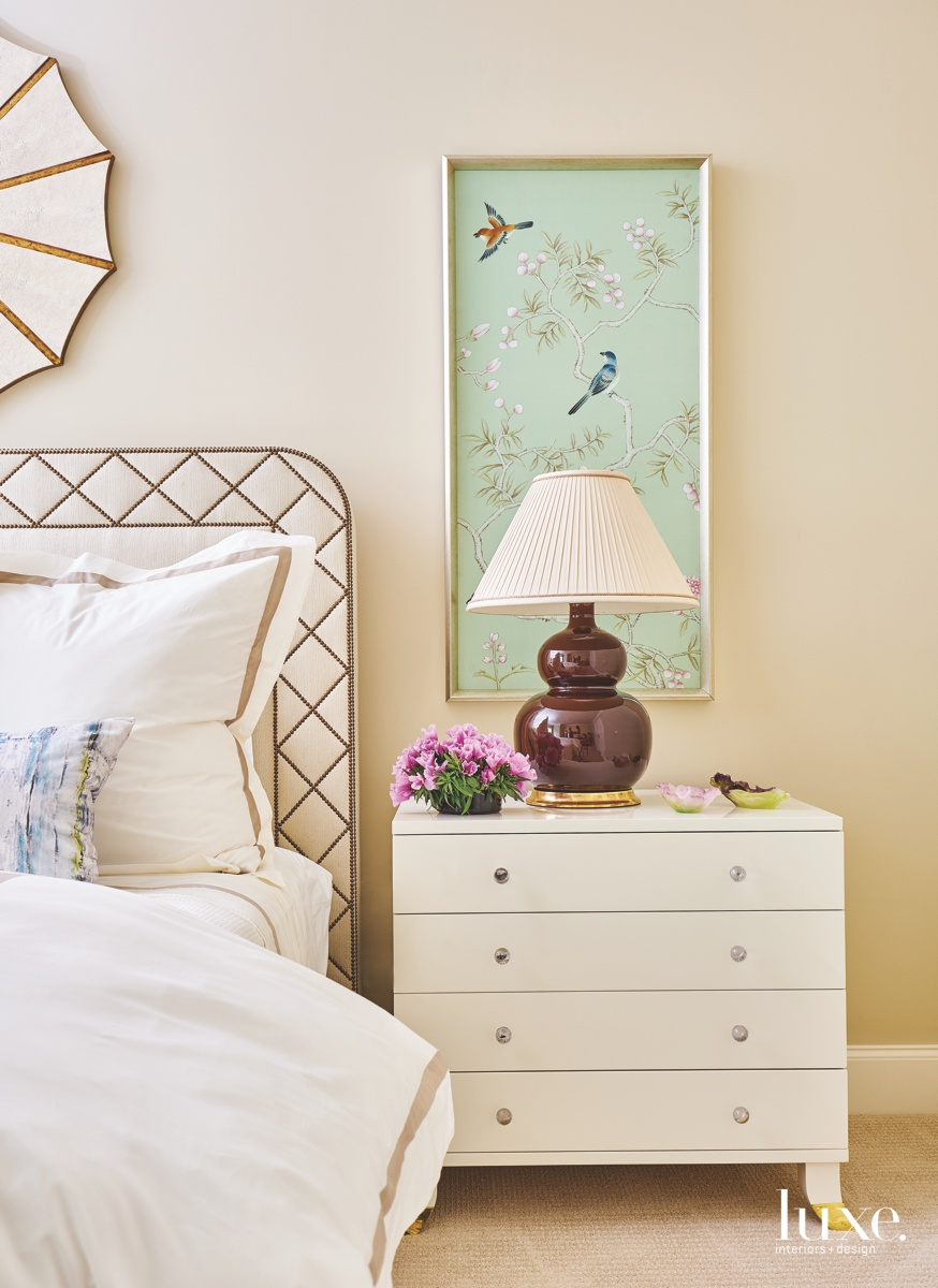 traditional neutral bedroom green painting...