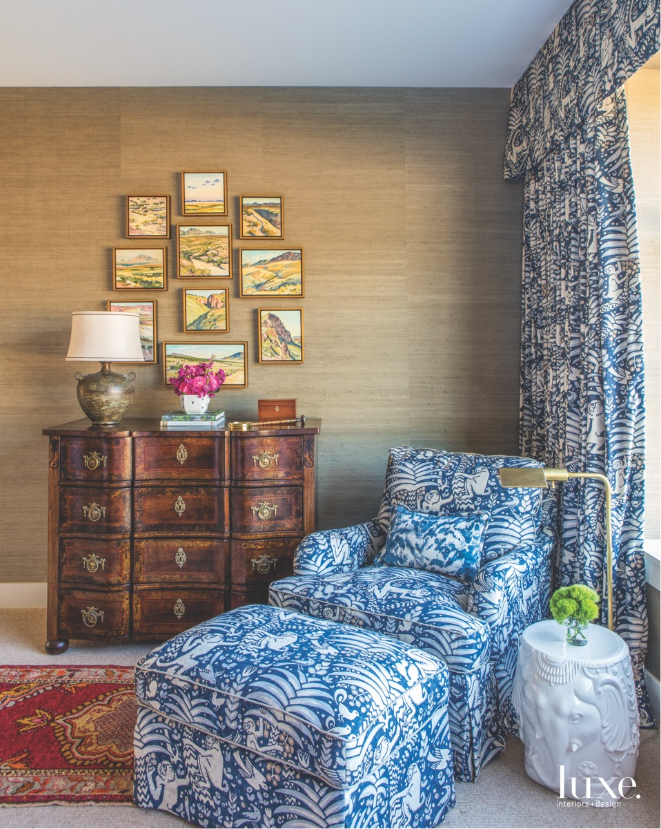 A guest bedroom's blue-and-white theme...