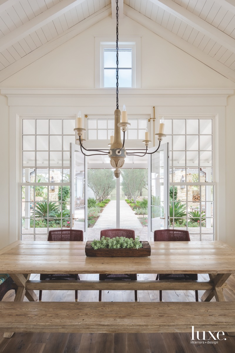 farmhouse neutral dining area in...