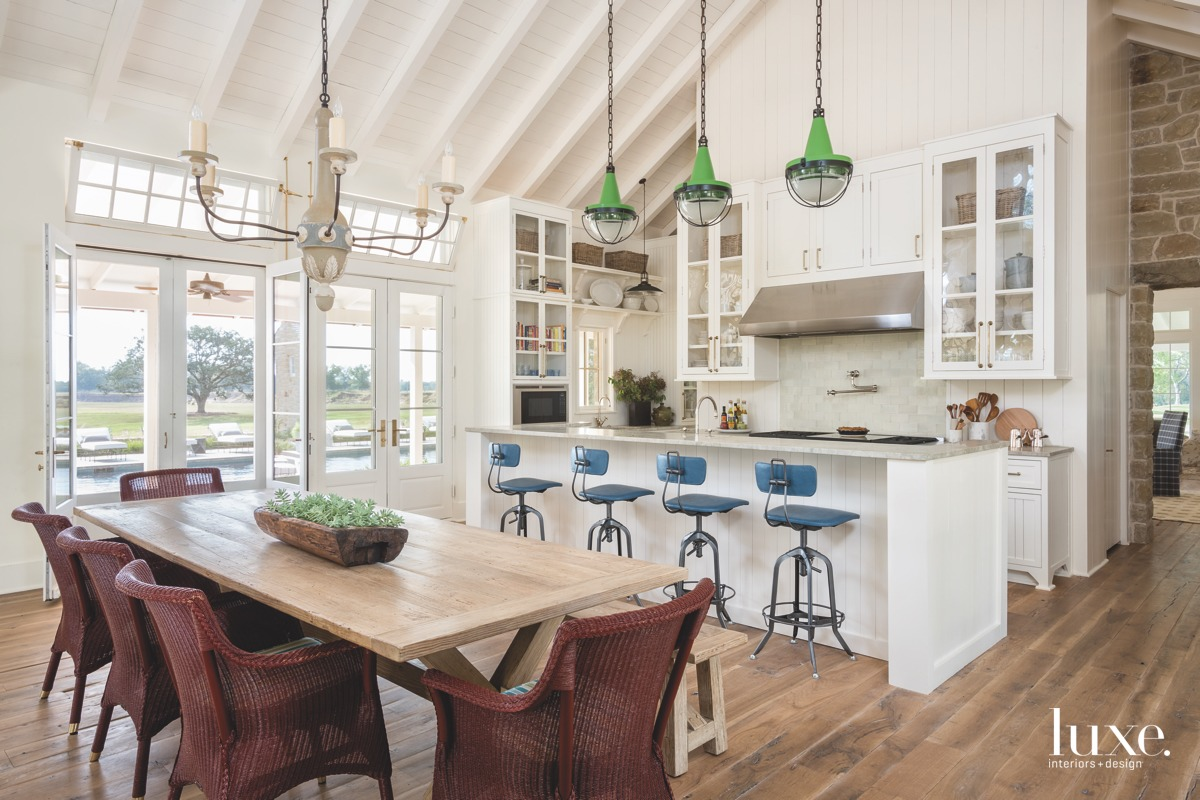 farmhouse kitchen and dining area...