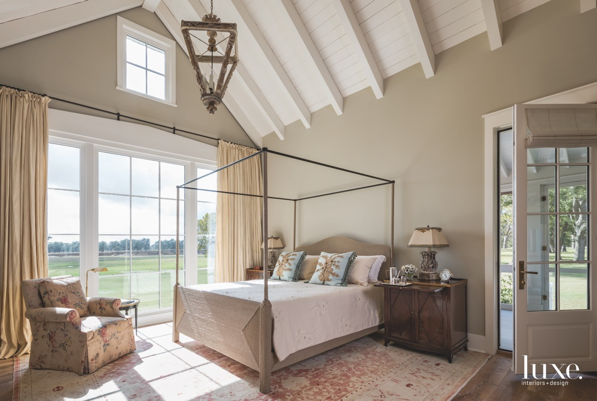 farmhouse neutral bedroom canopy bed