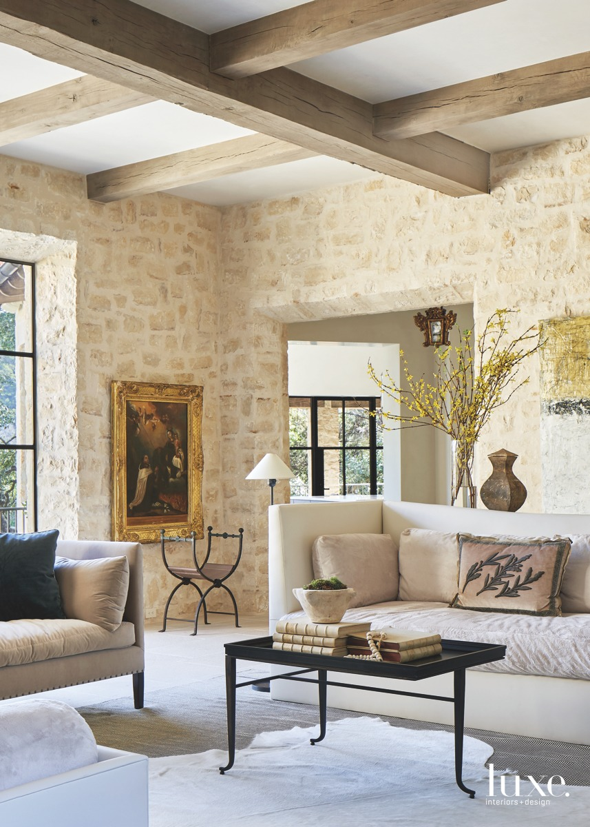 mediterranean neutral living room wooden...