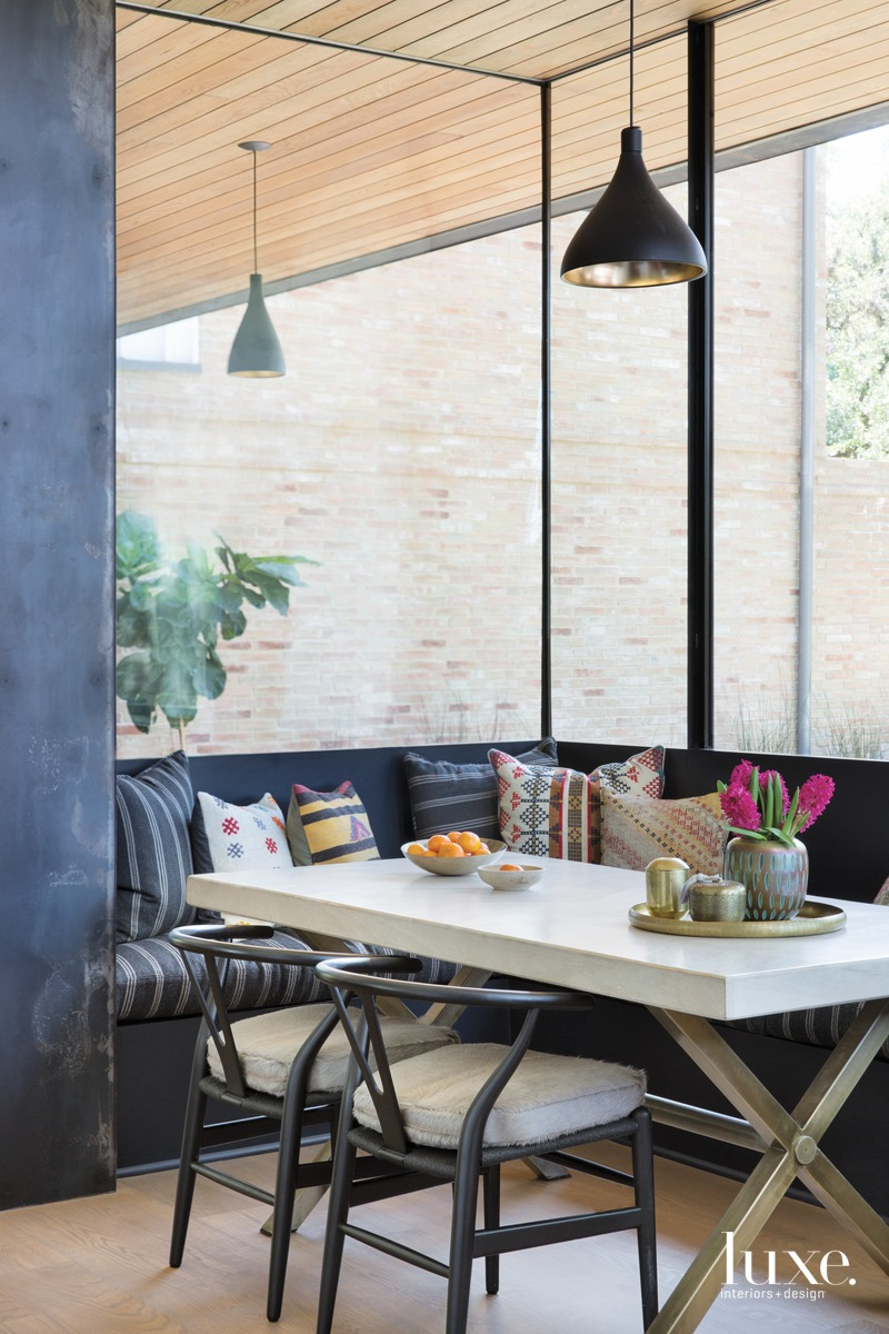 eclectic dining area black built-in...