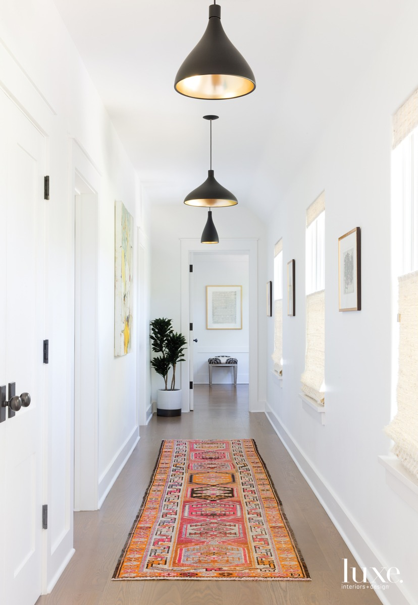 eclectic white hallway vintage orange...
